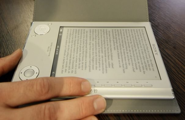The digital reader eBook Sony PRS-505 is pictured at the Frankfurt book fair
