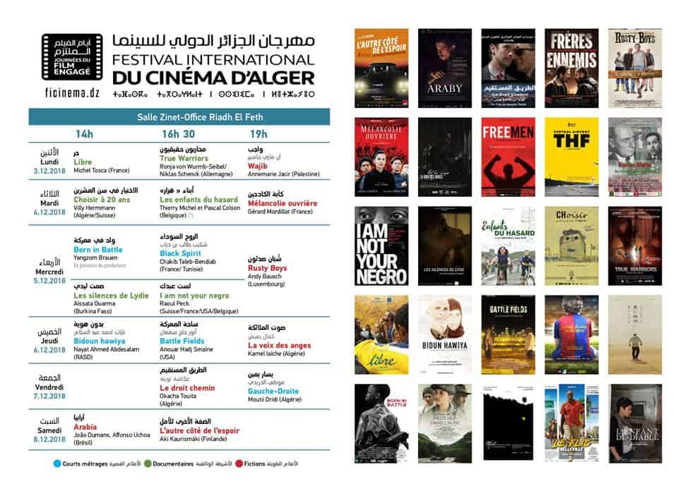 festival international du film d'Alger programme complet 2018